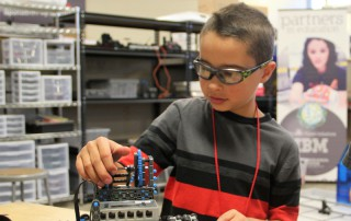 A St. Vrain Valley Schools student learns robotics at the Innovation Center in Longmont.