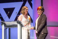 The Succeeds Prize Innovation Award Winners, Deb Harding and Tara Hardman, accept their award.