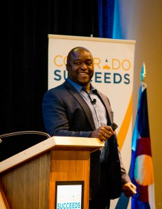 Greg Washington speaks at Colorado Succeeds annual member luncheon