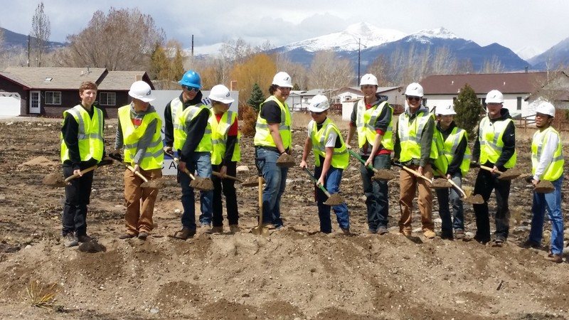 Breaking ground on the school district duplex for affordable teacher housing. Source: Salida School District.