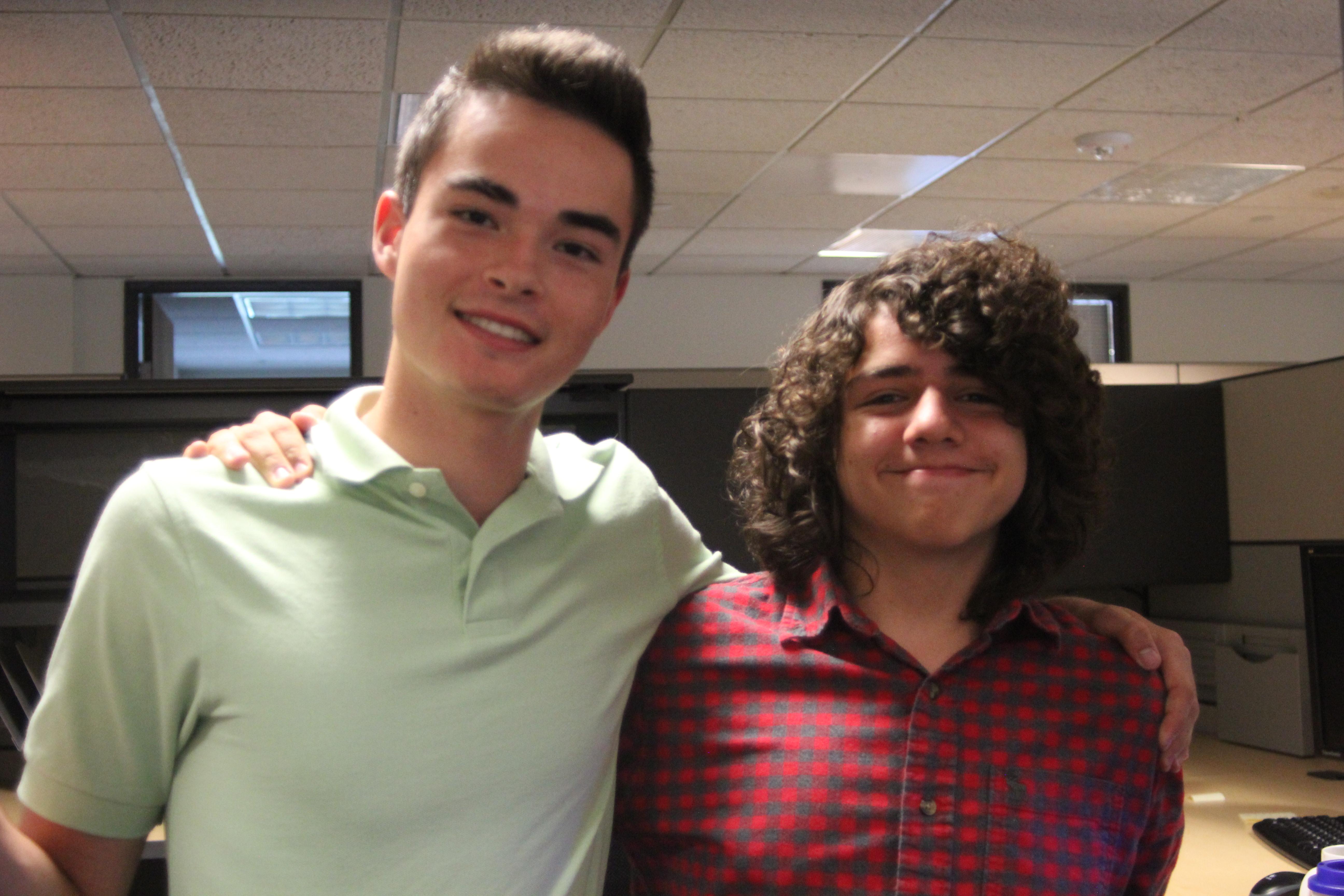 DPS students Jake VanSickle and Carlos Yosten at Woolpert's office.
