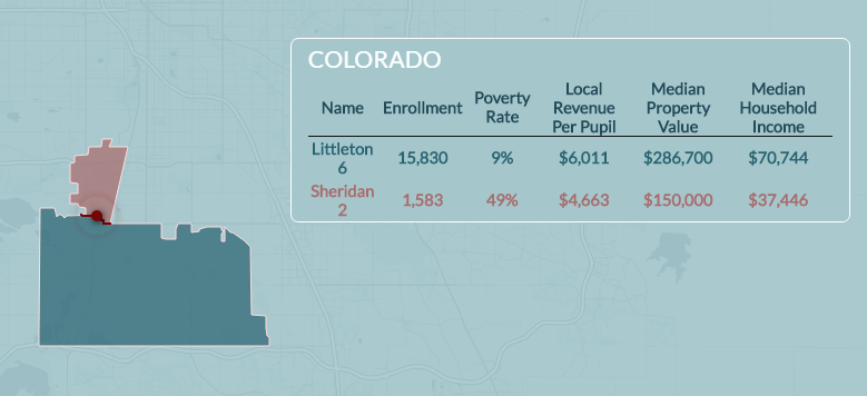 EdBuild's summary of the Littleton-Sheridan school district borders.