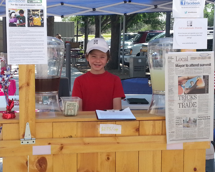 Jack operating one of his lemonade stands.