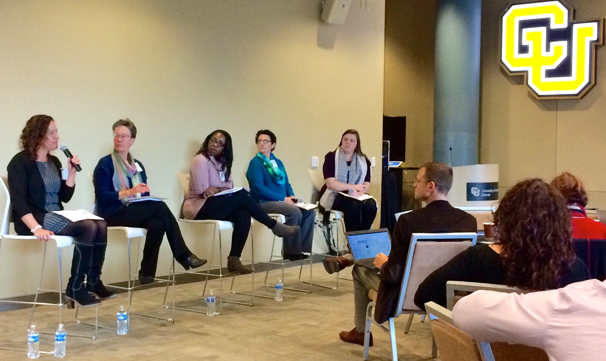 Shannon Nicholas leads a panel on how credentialing fits into the big picture featuring Mary Anne Hunter of the CO Dept. of Education, Amy Anderson of the Donnell-Kay Foundation, Renise Walker of the Colorado Workforce Development Council, and Robin Russell of the CO Dept. of Education.