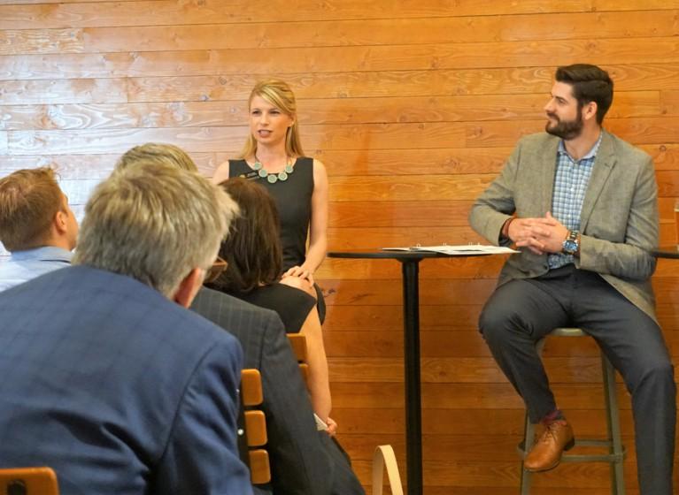 Rep. Brittany Pettersen and Scott Laband at Legislative Recap