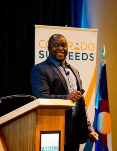 Greg Washington speaks at Colorado Succeeds annual member luncheon