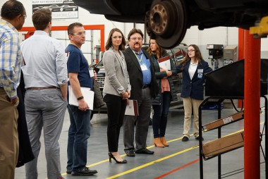 Colorado business delegation tours Maplewood High School's Career Academy programs